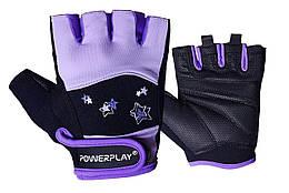 Рукавички для фітнесу PowerPlay 3492 S Чорно-фіолетові PP3492SPurple, КОД: 1138814