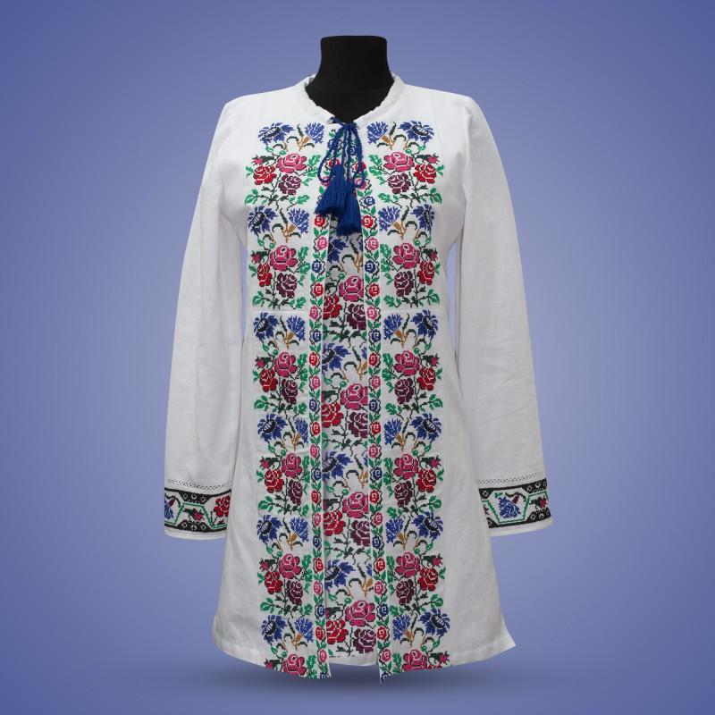 """Платье с этнической вышивкой  """"Волошки"""""""