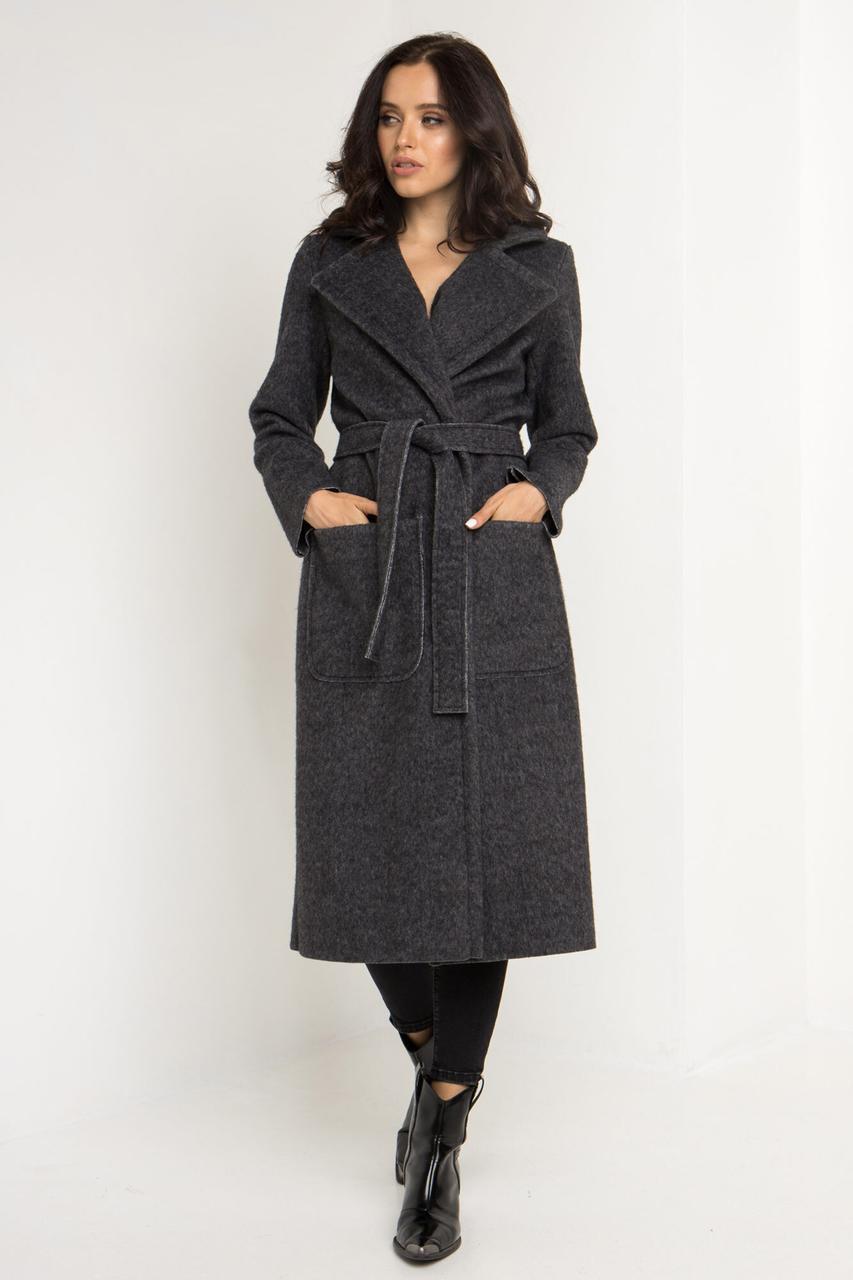 Кашемировое пальто ELEN серого цвета под пояс