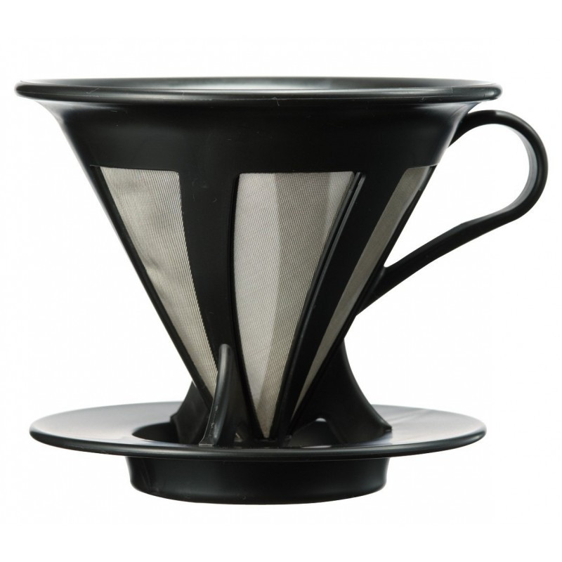 Пуровер Hario V60 02 черный пластиковый для заваривания кофе на 1-4 порции с металлическим фильтром