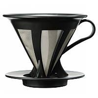 Пуровер Hario V60 02 черный пластиковый для заваривания кофе на 1-4 порции с металлическим фильтром, фото 1