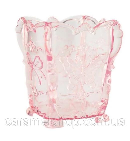 Подставка для пилочек и кистей (бабочка) прозрачно - розовый  цвет