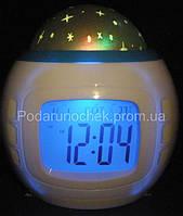 Музыкальные часы с будильником проектор звездного неба, фото 1