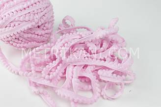Тесьма с мини-помпонами розового цвета 5мм № пм-13