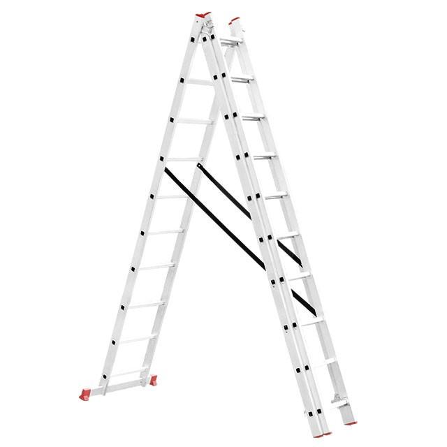 Лестница алюминиевая 3-х секционная универсальная раскладная INTERTOOL LT-0310