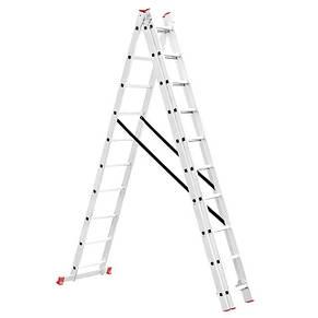 Лестница алюминиевая 3-х секционная универсальная раскладная INTERTOOL LT-0310, фото 2
