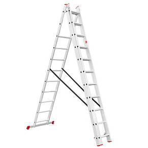 Лестница алюминиевая 3-х секционная универсальная раскладная INTERTOOL LT-0311, фото 2