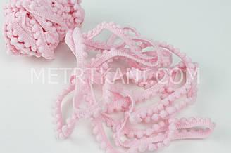 Тесьма с мини-помпонами светло-розового цвета 5мм № пм-14
