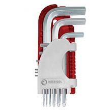 Набор Г-образных шестигранных ключей PROF с шарообразным наконечником INTERTOOL HT-1813