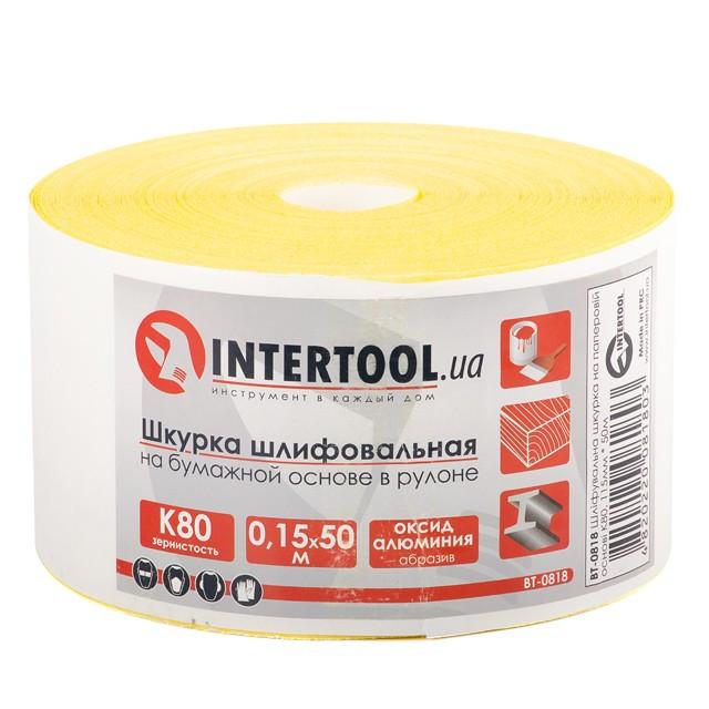 Шлифовальная шкурка на бумажной основе К80, 115мм*50м. INTERTOOL BT-0818