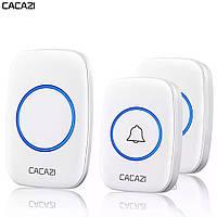 Беспроводной дверной звонок на входную дверь с 2-мя кнопками вызова Cacazi A21, белый
