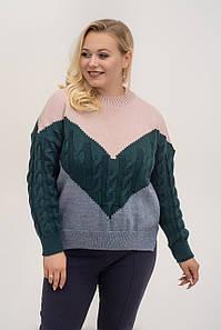 Батальный трикотажный свитер свободный 46-50 (в расцветках)
