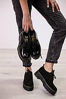 Женские туфли на шнурках Martens натуральная кожа/замша/лак