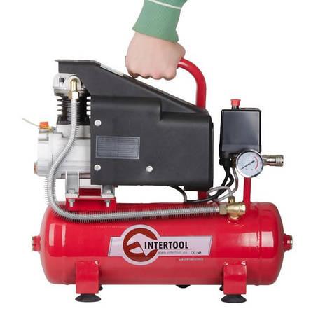 Компрессор 9 л, 0.75 кВт, 220 В, 8 атм, 160 л/мин INTERTOOL PT-0002, фото 2