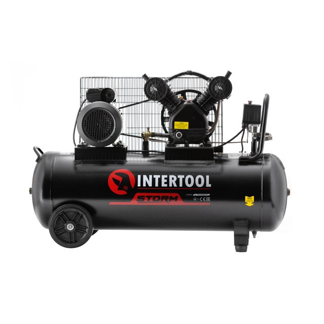 Компрессор 100 л, 3 кВт, 220 В, 8 атм, 500 л/мин, 2 цилиндра INTERTOOL PT-0014