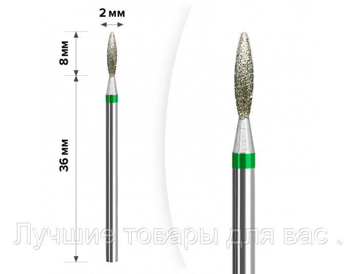 Алмазная насадка пламя зелёная , 2 на 8 мм. М-037