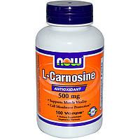 Карнозин аминокислота для тонуса 500 мг, 100  капсул, L-Carnosine, Now Foods