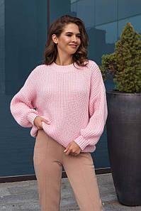 Женский свитер оверсайз розовый