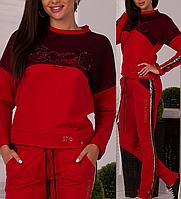 Турецкий брендовый стильный спортивный костюм женский № 8877 красный