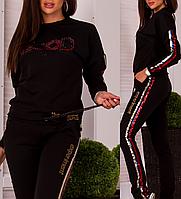 Турецкий брендовый стильный спортивный костюм женский № 8877 чёрный