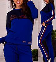 Турецкий брендовый стильный спортивный костюм женский № 8877 электрик
