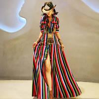 Довге плаття сорочка в смужку з короткими рукавами і гудзиками в етнічному стилі