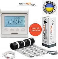 Теплый пол GrayHot 0,9м² / 129Ват нагревательный мат с программируемым терморегулятором E51