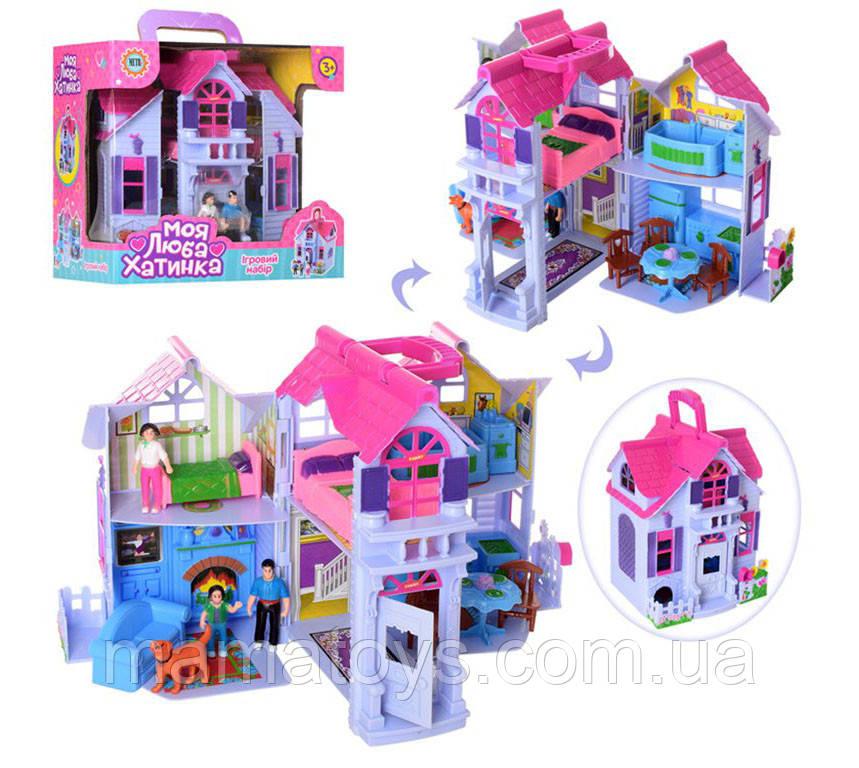 Ляльковий будиночок F611 Складаний з фігурками і меблями Розміри 20-24-16 см