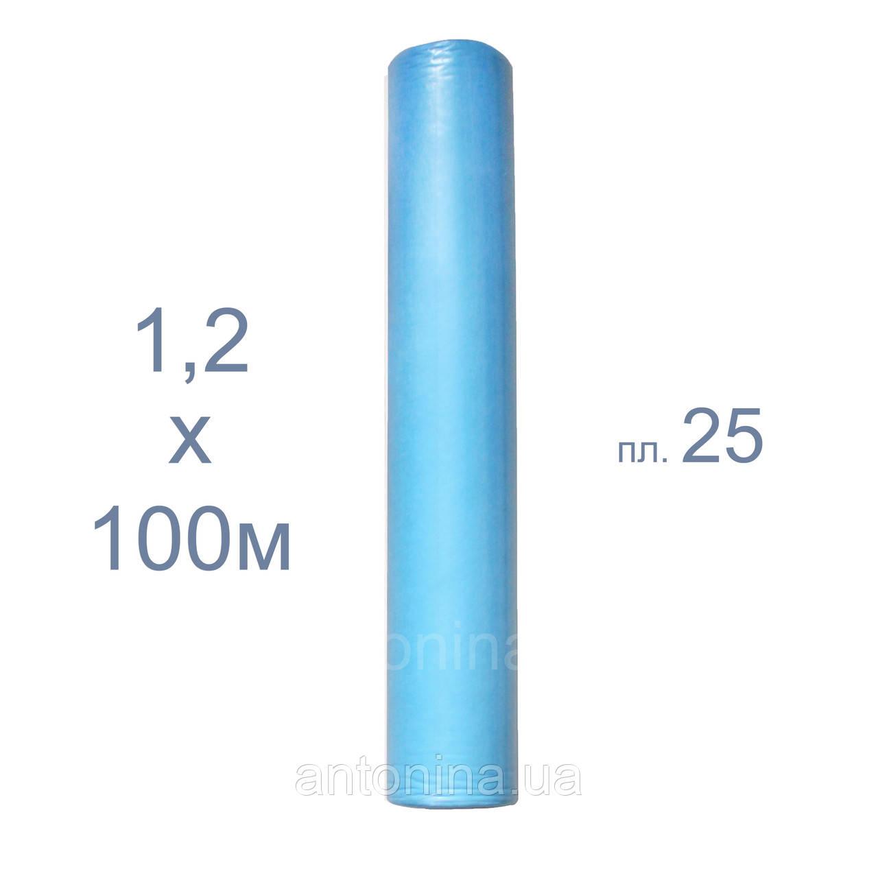 """Одноразові простирадла блакитні 1,2х100м щільні ТМ """"Антоніна"""", спанбонд"""