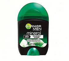 Твердый дезодорант-антиперспирант для мужчин без белых следов 48ч нон-стоп Garnier Men Mineral