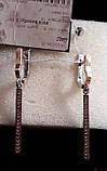 Серебрянные сережки удлиненные с золотыми накладками и камнями, фото 6