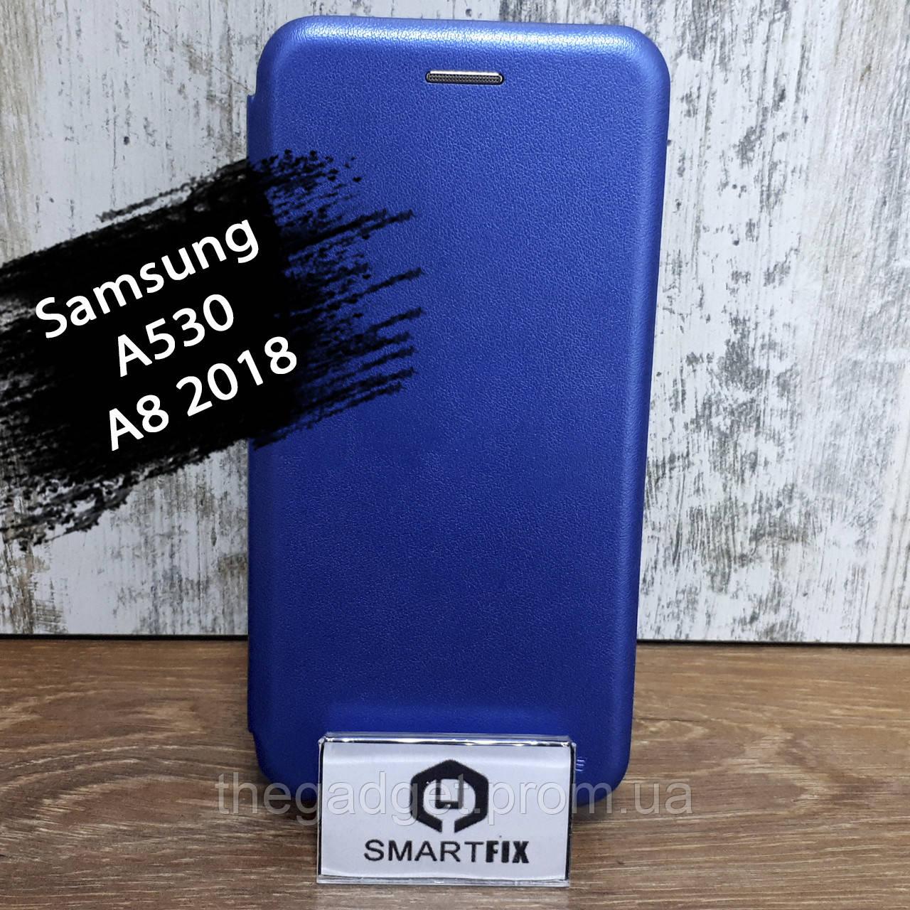 Чехол книжка для Samsung A8 2018 (A530) G-Case Синий