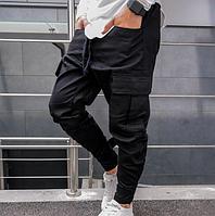 Мужские штаны карго черные с боковыми карманами штани