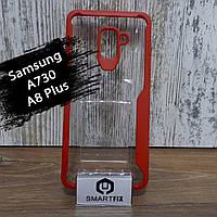 Силиконовый чехол для Samsung A8 Plus 2018 (A730) Красный, фото 1