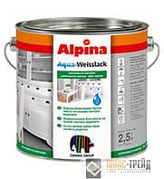 Alpina Aqua-Weisslack (Альпина Аква-Вайслак) Водоразбавляемая белая эмаль 2,5 л