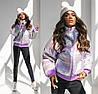 Демисезонная женская куртка сиреневая со съемным капюшоном (3 цвета) ТК/-6211