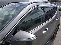 Ветровики с хром полосой, дефлекторы окон Hyundai Santa Fe 2012-> (D954) Auto Clover, фото 1