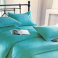 """""""Бирюзовое"""" однотонное постельное белье двуспальный размер 180/220 см с евро простыней, ткань страйп-сатин"""
