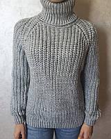 Женский серый вязаный свитер под горло однотонный зимняя кофта размер 46 свитеры и кардиганы женские