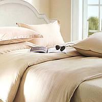 """""""Бежевое"""" однотонное постельное белье двуспальный размер 180/220 см с евро простыней, ткань страйп-сатин"""