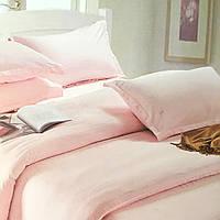 """""""Розовое"""" однотонное постельное белье двуспальный размер 180/220 см с евро простыней, ткань страйп-сатин"""
