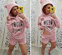 Махровая пижама Турция шорты с ушками и кофта с капюшоном, фото 1