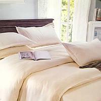 """""""Шампань"""" однотонное постельное белье двуспальный размер 180/220 см с евро простыней, ткань страйп-сатин"""