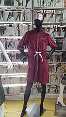 Халат жіночий велюр бордового кольору. ТМ Tomiko. L. XL. XXL. 3XL