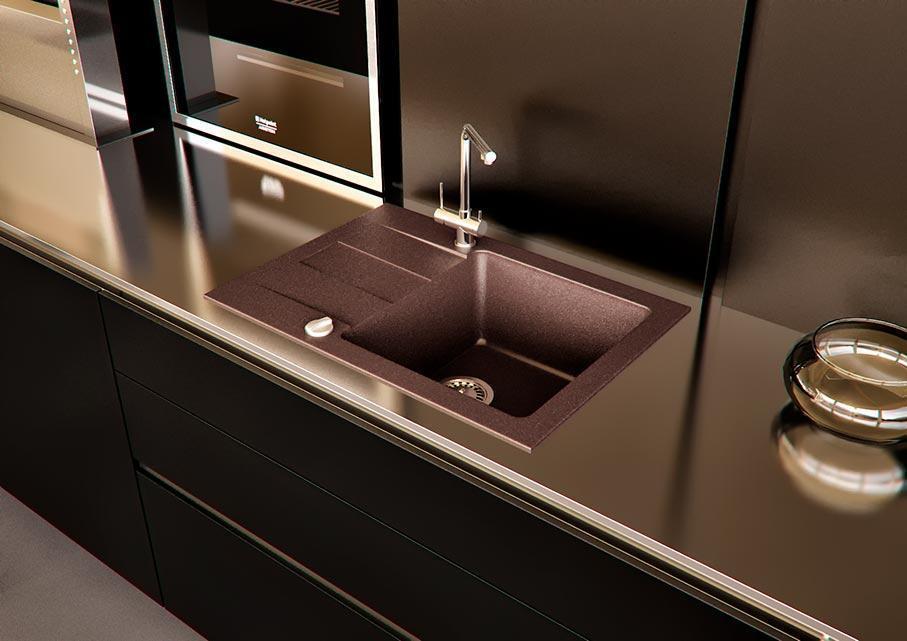 Кухонная мойка VALENTINA Gr River 60 коричневый