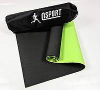 Коврик для йоги и фитнеса + чехол (мат, каремат спортивный) OSPORT Premium TPE 6мм (n-0007) Черно-салатовый