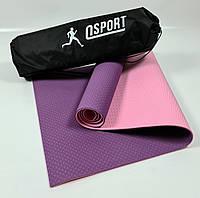 Коврик для йоги и фитнеса + чехол (мат, каремат спортивный) OSPORT Premium TPE 6мм (n-0007) Фиолетово-розовый