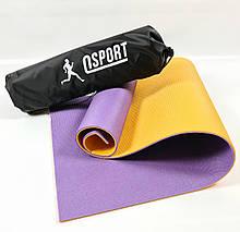 Коврик для йоги, фитнеса и спорта (каремат спортивный) OSPORT Спорт 8мм + чехол (n-0008) Фиолетово-жёлтый