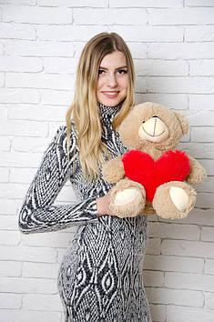 Плюшевий ведмедик Тіні з серцем 50 см Мокко