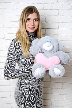 Плюшевий ведмедик Тіні з серцем 50 см Сірий